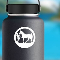 Cowgirl And Her Horse In A Circle Sticker on a Water Bottle example