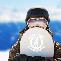 Cowgirl And Horseshoe With Words Bad Ass Cowgirl Sticker on a Snowboard example