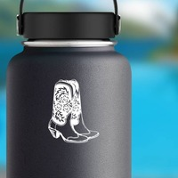 Cowgirl Boots Sticker on a Water Bottle example