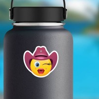 Cowgirl Emoji Sticker on a Water Bottle example