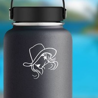 Cowgirl Head Tilting Her Cowboy Hat Sticker on a Water Bottle example