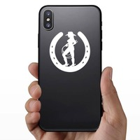 Cowgirl Holding A Rope In A Horseshoe Sticker on a Phone example
