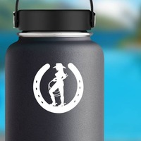 Cowgirl Holding A Rope In A Horseshoe Sticker on a Water Bottle example