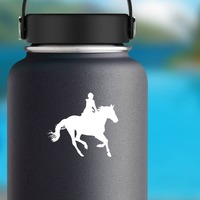 Cowgirl Riding A Horse Sticker on a Water Bottle example