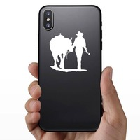 Cowgirl Walking Her Horse Holding A Rose Sticker on a Phone example