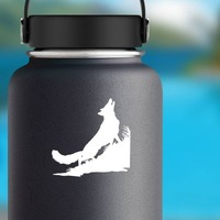 Coyote Wolf Howling In Grass Sticker on a Water Bottle example