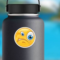 Crazy Confused Emoji Sticker on a Water Bottle example