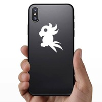 Crazy Feathered Cockatoo Bird Sticker on a Phone example