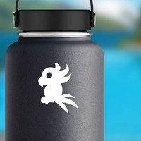 Crazy Feathered Cockatoo Bird Sticker on a Water Bottle example