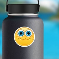 Crazy Quivering Lip Emoji Sticker on a Water Bottle example