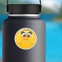 Crazy Sad Upset Emoji Sticker on a Water Bottle example