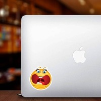 Crazy Scared Screaming Emoji Sticker on a Laptop example