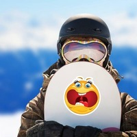 Crazy Scared Screaming Emoji Sticker on a Snowboard example