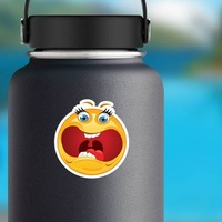 Crazy Scared Screaming Emoji Sticker on a Water Bottle example