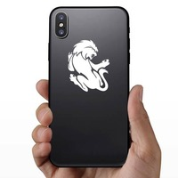Crazy Scary Lion Sticker on a Phone example