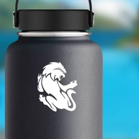 Crazy Scary Lion Sticker on a Water Bottle example