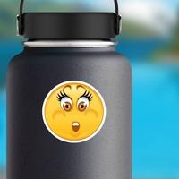 Crazy Worried Emoji Sticker on a Water Bottle example