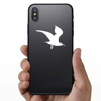 Creepy Flying Seagull Sticker on a Phone example