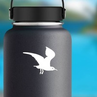 Creepy Flying Seagull Sticker on a Water Bottle example
