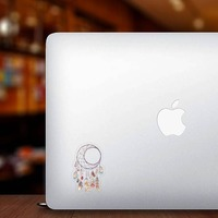 Crescent Moon Dreamcatcher with Feathers Boho Sticker on a Laptop example