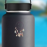 Crescent Moon Dreamcatcher with Feathers Boho Sticker on a Water Bottle example