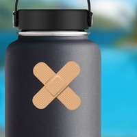 Crossed Band Aid Bandage Sticker on a Water Bottle example