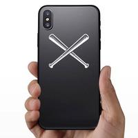 Crossed Baseball or Softball Bats Sticker on a Phone example