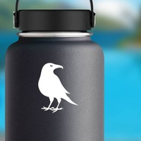 Crow Sticker on a Water Bottle example