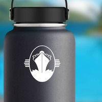 Cruise Ship In Circle Sticker on a Water Bottle example