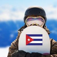 Cuba Flag Sticker on a Snowboard example