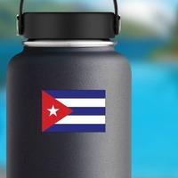 Cuba Flag Sticker on a Water Bottle example