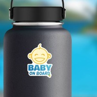 Cute Baby On Board Face Sticker on a Water Bottle example