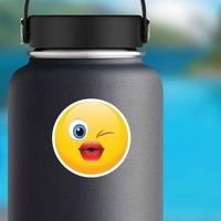 Cute Blowing a Kiss Emoji Sticker on a Water Bottle example