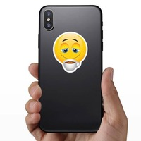 Cute Coffee Lover Emoji Sticker on a Phone example
