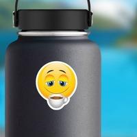 Cute Coffee Lover Emoji Sticker on a Water Bottle example