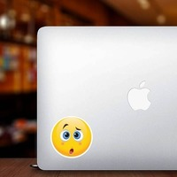 Cute Confused Emoji Sticker on a Laptop example