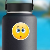 Cute Confused Emoji Sticker on a Water Bottle example