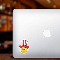 Cute Confused Patriot Emoji Sticker on a Laptop example