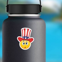 Cute Confused Patriot Emoji Sticker on a Water Bottle example