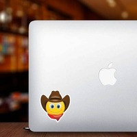 Cute Cowboy with Bandana Brown Hat Emoji Sticker on a Laptop example