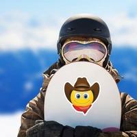 Cute Cowboy with Bandana Brown Hat Emoji Sticker on a Snowboard example