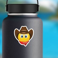 Cute Cowboy with Bandana Brown Hat Emoji Sticker on a Water Bottle example