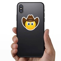 Cute Cowboy with Brown Hat Emoji Sticker on a Phone example