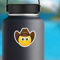 Cute Cowboy with Brown Hat Emoji Sticker on a Water Bottle example