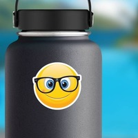 Cute Crooked Glasses Emoji Sticker on a Water Bottle example