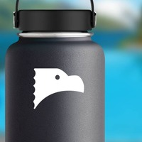 Cute Eagle Head Sticker on a Water Bottle example