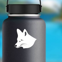 Cute Fox Face Sticker on a Water Bottle example