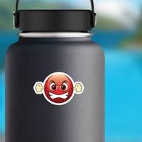 Cute Furious Emoji Sticker on a Water Bottle example