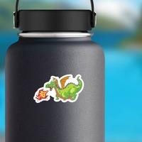 Cute Green Fire Breathing Dragon Sticker on a Water Bottle example