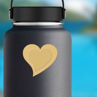 Cute Heart Band Aid Bandage Sticker on a Water Bottle example